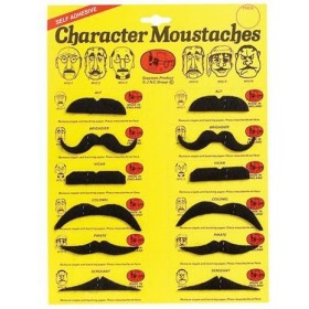 Moustaches, Black 12 Assorted. Cd/12 (Fancy Dress Facial Hair)
