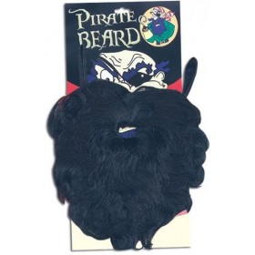 Pirate Beard. Wavy Black (Pirates Fancy Dress Facial Hair)