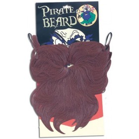 Pirate Beard. Wavy Brown (Pirates Fancy Dress Facial Hair)
