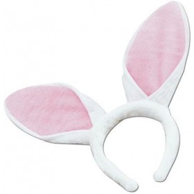 Bunny Ears On Headband. Adult (Animals Fancy Dress Disguises)