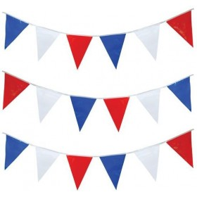 Bunting 7M Rd/Wh/Blue Flags X 25 (Fancy Dress)