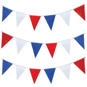 Bunting 15M Rd/Wh/Blue Triangles (Fancy Dress)