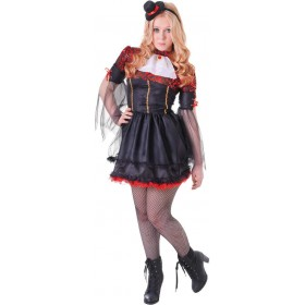 Girls Black And Red (Teen Vamp Girl) Fancy Dress Costume