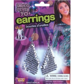 Ladies Diamond Shaped 70'S Style Silver Earrings Fancy Dress Accessory
