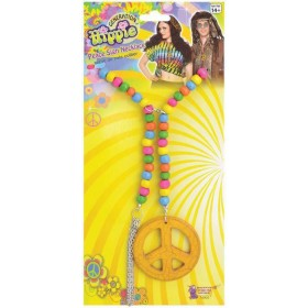 Adult Hippie Peace Sign Wooden Necklace Fancy Dress Accessory