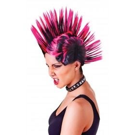 Mohican Pink and Black Female Wig