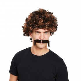 80s Afro Wig and Tash Two Tone Brown