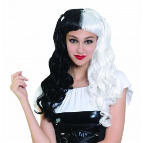 Long Wig Black and White Bunches
