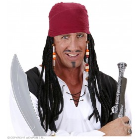 Mens Caribbean Pirate Bandanas W/Dreads Black Wigs - (Black)