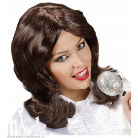 Ladies 70S Pop Star Wig Boxed Brown Wigs - (Black)