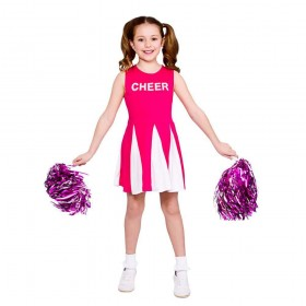 Girls Cheerleader  - Hot Pink Fancy Dress Costume