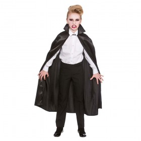 Deluxe Children's Satin Cape w/Collar - BLACK 95cm Accessories