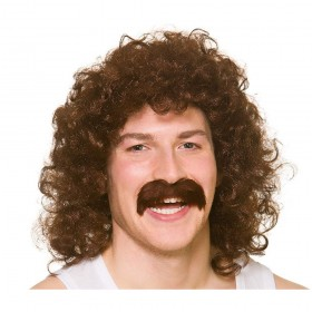 80's Perm Wig with Tash - Brown Wigs (1980)