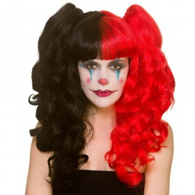Harlequin Red & Black Bunches Cosplay Halloween Wig