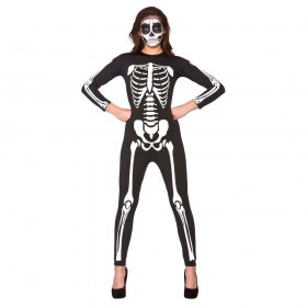 Adult Unisex Skeleton Jumpsuit Fancy Dress Costume