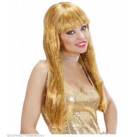 Glitzy Glamour Wig With Tinsel - Gold - Fancy Dress