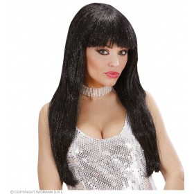 Glitzy Glamour Wig With Tinsel - Black - Fancy Dress