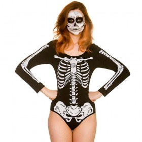 Skeleton Leotard Fancy Dress Costume