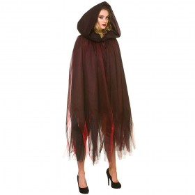 Deluxe Layered Hooded Cape - Deep Red Costume