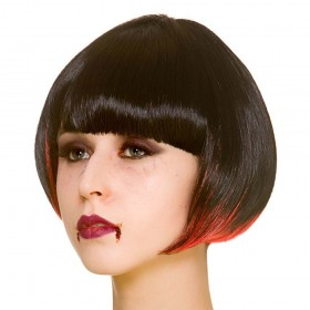 Vampire Short Bob - Black / Red Wigs