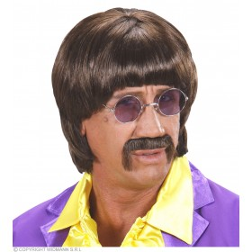 Mens 60S Music Man Wig W/Tash - Brown Wigs - (Brown)