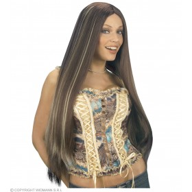 Extra Long Wig Boxed Brn W/Blonde Streaks - Fancy Dress