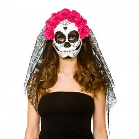 Deluxe Day of the Dead Mask with Veil Halloween Masks