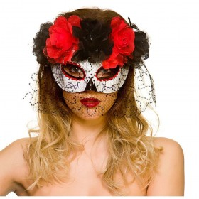 Day of the Dead Eyemask with Veil Halloween Masks