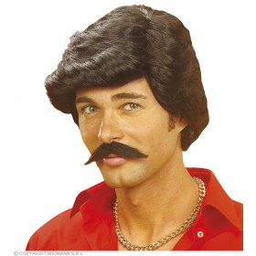 Casanova Wig W/Moustache Black - Fancy Dress
