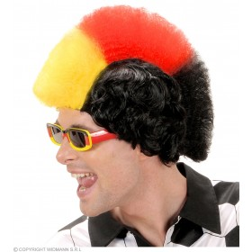 Supporter Man Wig - Black - Red - Yellow - Fancy Dress