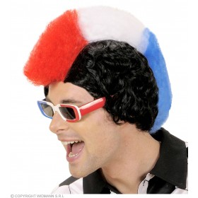 Supporter Man Wig - Blue - White - Red - Fancy Dress