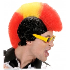 Supporter Man Wig - Red - Yellow - Red - Fancy Dress