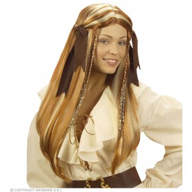Pirate Wench Wig W/Suedette Ribbons - Fancy Dress (Pirates)