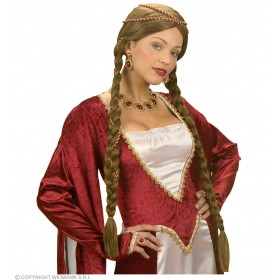 Renaissance Queen Wig Brown - Fancy Dress (Royalty)