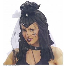Dark Mistress Wig Veil /Rhinestone Spiders Fancy Dress