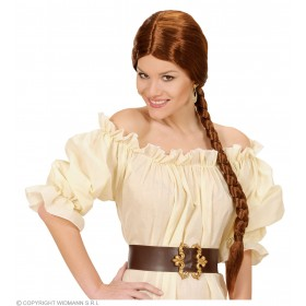 Peasant Wig W/Plait - Brown - Fancy Dress