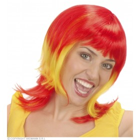 Supporter Woman Wig - Red - Yellow - Red - Fancy Dress