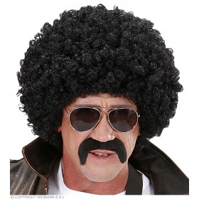 Mens Undercover Agent Wig - Black Curly Wigs - (Black)