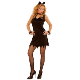 Ladies Black Cat Party Dress/Clubwear Fancy Dress Costume