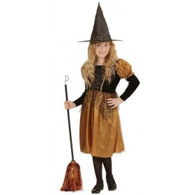 Girls Deluxe Black/Gold Witch Halloween Fancy Dress Costume