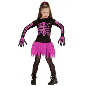 Girls Black/Pink Ballerina Skeleton Halloween Fancy Dress Costume