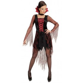 Ladies Black/Red Spiderweb Vampiria Halloween Fancy Dress Costume