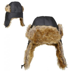 Adults Faux Fur Lined Aviator Hat Fancy Dress Accessory