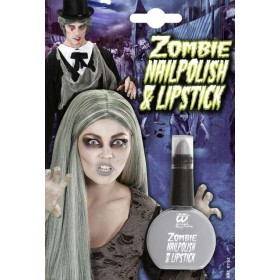 Zombie Grey Nail Polish & Lipstick Combo Halloween Accessory