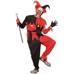 Mens Black/Red Evil Jester Halloween Fancy Dress Costume