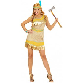 Ladies Golden Native Indian Girl Fancy Dress Costume