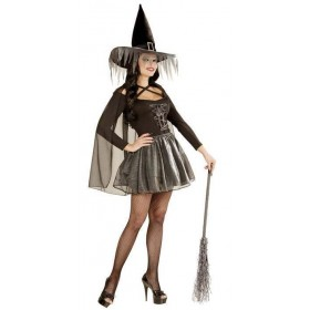 Ladies Black/Silver Glimmer Witch Halloween Fancy Dress Costume