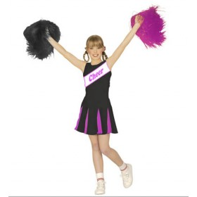 Girl's Black/Pink Sporty Cheerleader Fancy Dress Costume