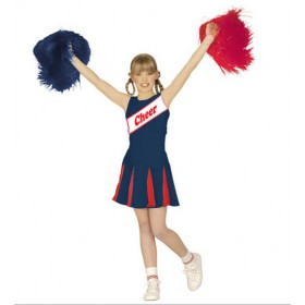 Girl's Blue/Red Sporty Cheerleader Fancy Dress Costume