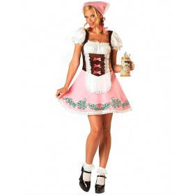 Ladies Pink Bavarian Girl Fancy Dress Costume